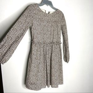 GAP kids Leopard Print Long Sleeve Gathered Dress